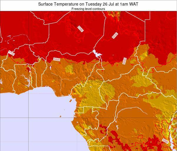 Cameroon Surface Temperature on Thursday 23 May at 7am WAT