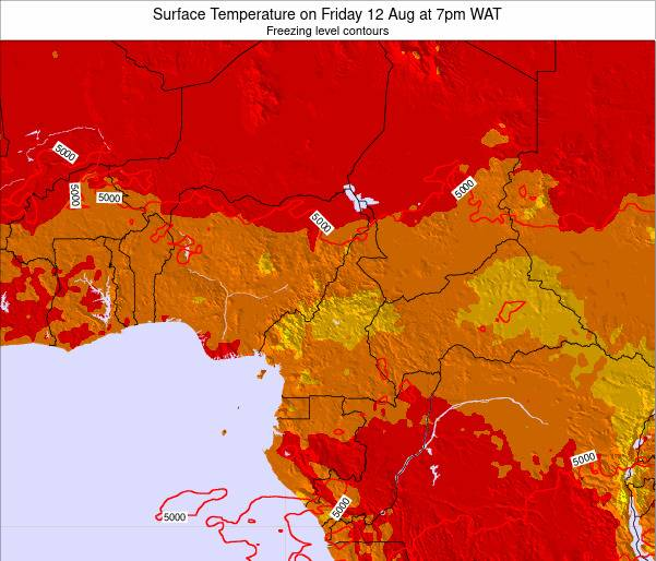 Equatorial Guinea Surface Temperature on Sunday 23 Jun at 7am WAT map