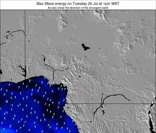 Cameroon Max Wave energy on Thursday 22 Feb at 1pm WAT map