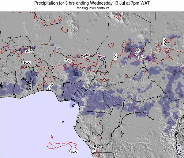 Equatorial Guinea Precipitation for 3 hrs ending Sunday 19 May at 7am WAT map