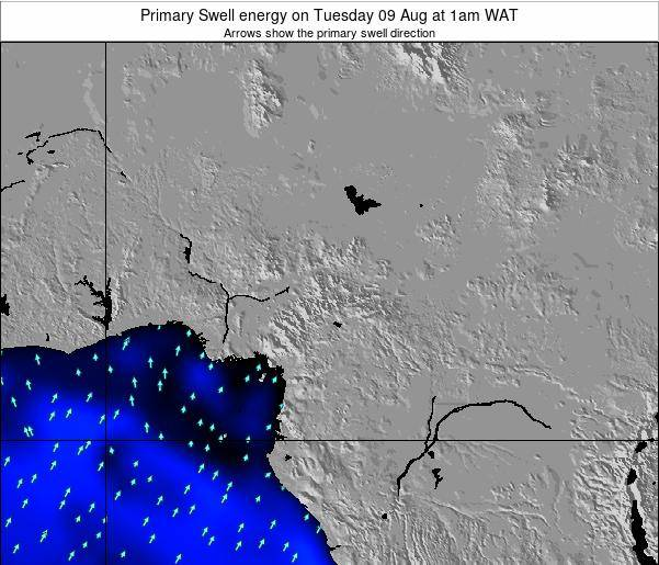Cameroon Primary Swell energy on Saturday 25 May at 7am WAT