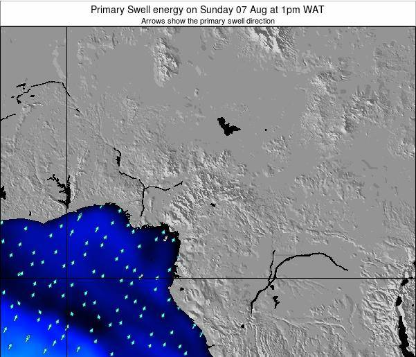 Cameroon Primary Swell energy on Tuesday 28 May at 1pm WAT
