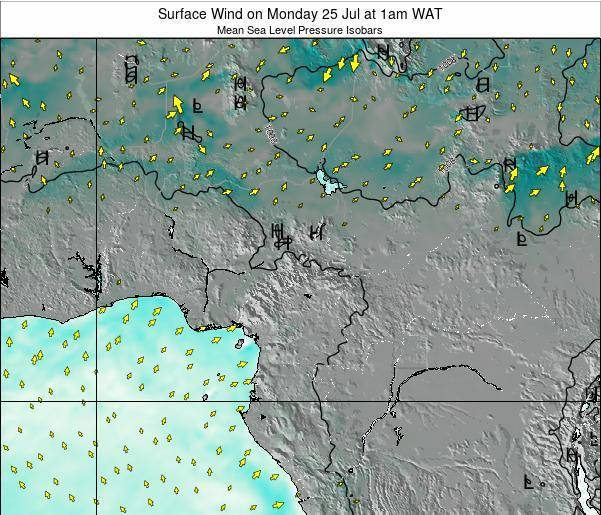 Gabon Surface Wind on Friday 25 Apr at 7am WAT