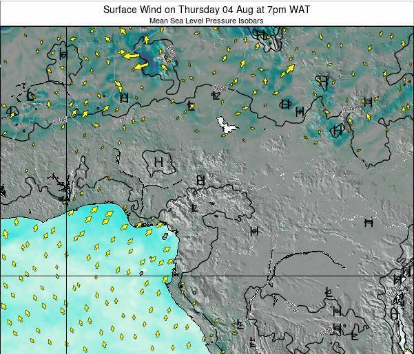 Gabon Surface Wind on Friday 25 Jul at 7pm WAT