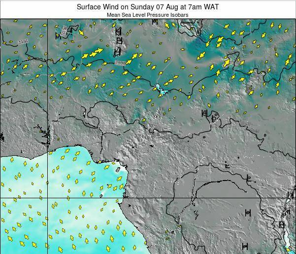 Gabon Surface Wind on Sunday 03 Aug at 1am WAT