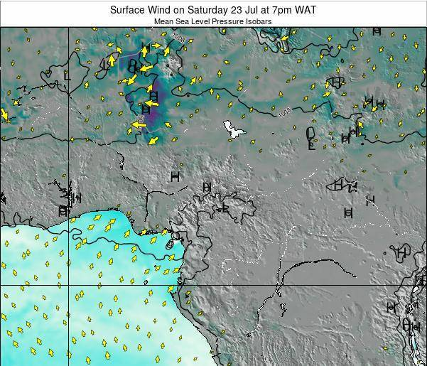 Gabon Surface Wind on Monday 10 Mar at 7pm WAT