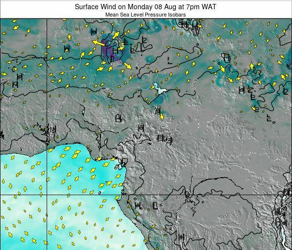 Gabon Surface Wind on Friday 22 Jun at 7am WAT map