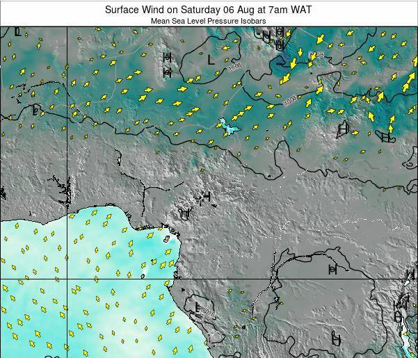 Gabon Surface Wind on Saturday 14 Dec at 1am WAT