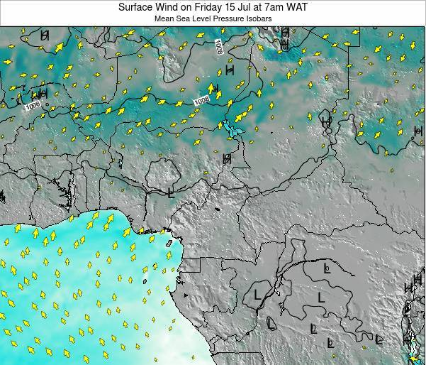 Gabon Surface Wind on Sunday 22 Apr at 7pm WAT map