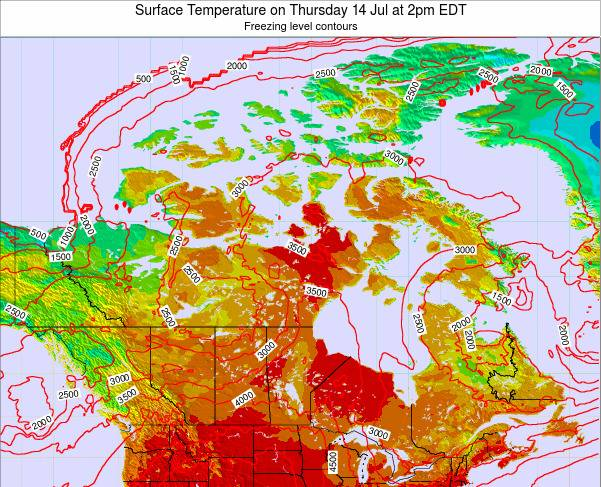 Saint Pierre and Miquelon Surface Temperature on Saturday 07 Dec at 1pm EST map