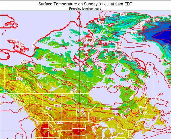 Saint Pierre and Miquelon Surface Temperature on Wednesday 23 Apr at 8am EDT map