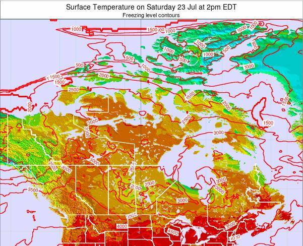 Saint Pierre and Miquelon Surface Temperature on Friday 01 Aug at 2am EDT map