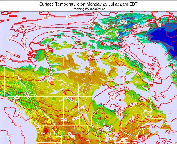 Canada Surface Temperature on Thursday 20 Jun at 2am EDT