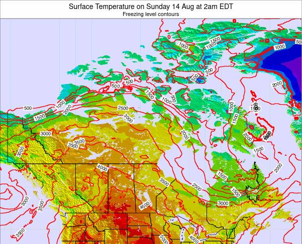 Canada Surface Temperature on Tuesday 05 Aug at 8am EDT