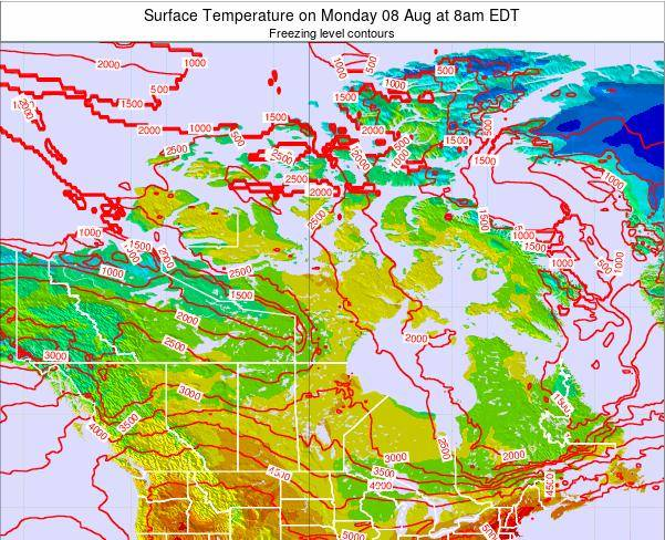 Canada Surface Temperature on Wednesday 11 Dec at 1am EST