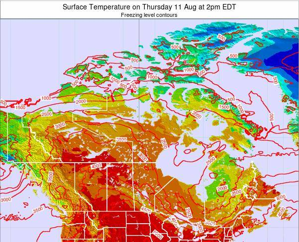 Canada Surface Temperature on Monday 16 Dec at 1pm EST