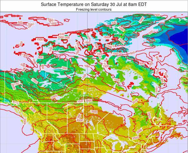 Canada Surface Temperature on Monday 28 Jul at 2pm EDT