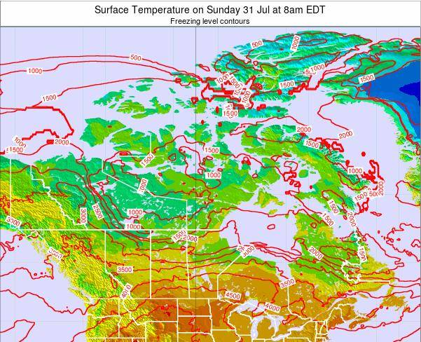 Canada Surface Temperature on Monday 28 Aug at 2am EDT