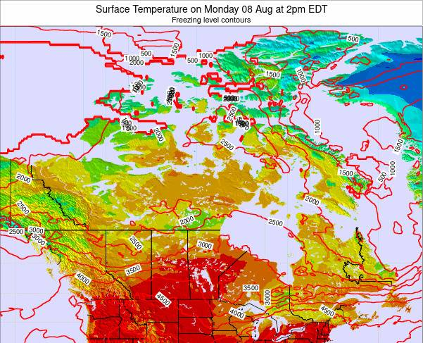 Canada Surface Temperature on Monday 22 Jul at 2pm EDT map