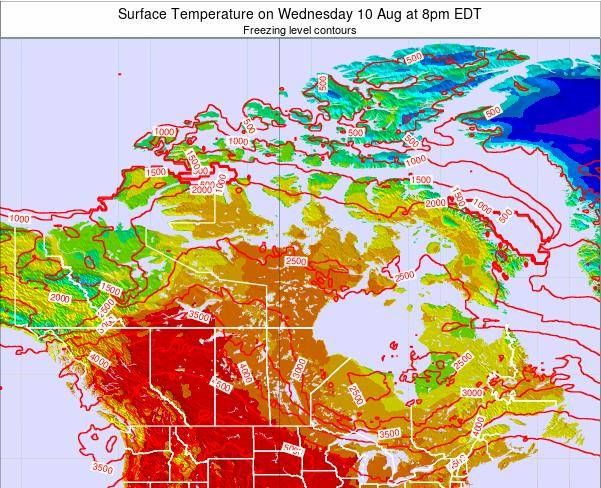 Canada Surface Temperature on Monday 16 Dec at 1am EST