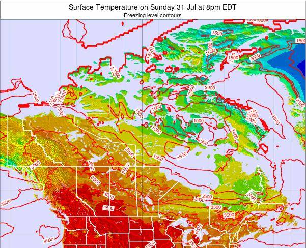 Canada Surface Temperature on Tuesday 29 Jul at 8am EDT
