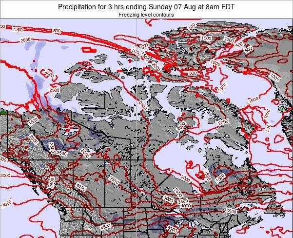 Canada Precipitation for 3 hrs ending Sunday 23 Jun at 8pm EDT map