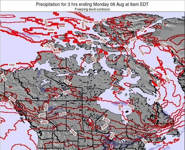 Canada Precipitation for 3 hrs ending Sunday 02 Aug at 8am EDT