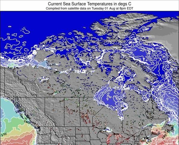 Canadá Temperaturas da Superfície do Oceano Mapa