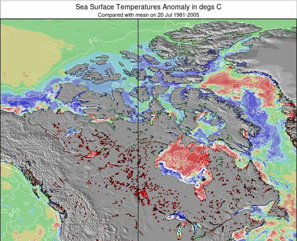 Canada Sea Temperature Anomaly Map