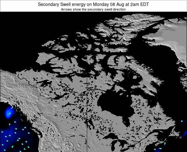 Canada Secondary Swell energy on Thursday 26 Jul at 2pm EDT map