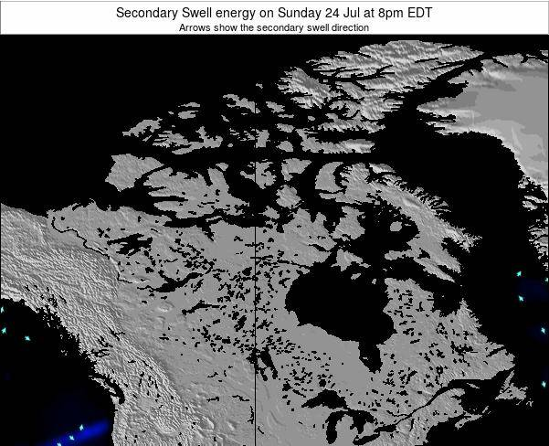 Canada Secondary Swell energy on Wednesday 18 Jul at 2am EDT map