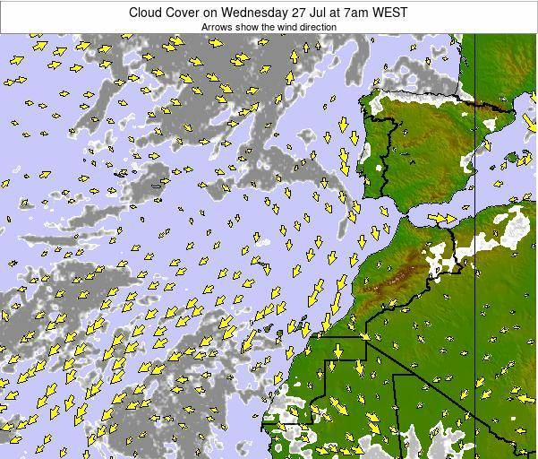 Canary Islands, Spain Cloud Cover on Wednesday 12 Mar at 6pm WET