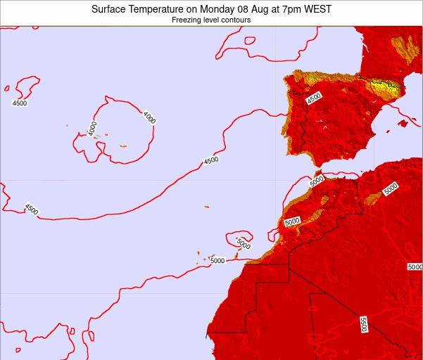 Canary Islands, Spain Surface Temperature on Wednesday 22 May at 1am WEST