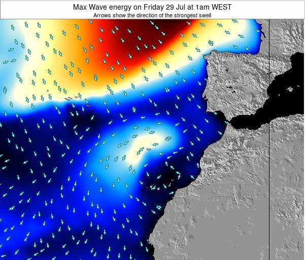 Western Sahara Max Wave energy on Tuesday 05 Aug at 7am WEST