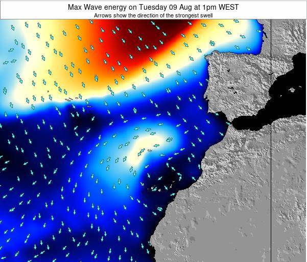 Western Sahara Max Wave energy on Wednesday 30 Jul at 1pm WEST