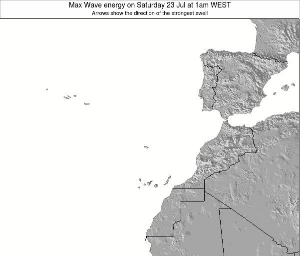 Western Sahara Max Wave energy on Tuesday 23 Oct at 1pm WEST map