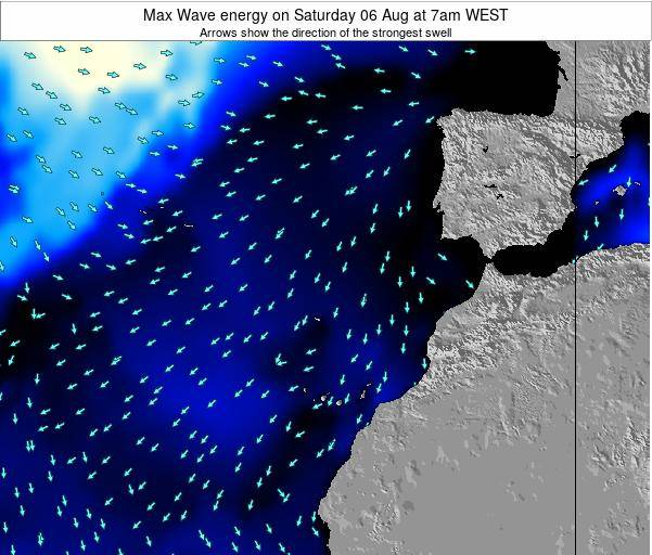 Western Sahara Max Wave energy on Monday 16 Jul at 1am WEST map