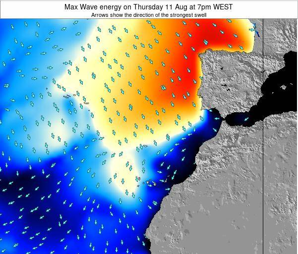 Western Sahara Max Wave energy on Wednesday 23 Apr at 7am WEST
