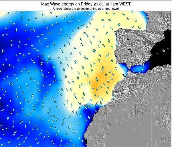 Western Sahara Max Wave energy on Saturday 05 Sep at 7am WEST