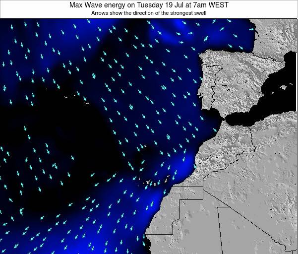 Western Sahara Max Wave energy on Tuesday 17 Dec at 12pm WET