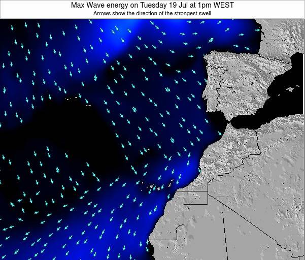 Western Sahara Max Wave energy on Saturday 11 Jul at 7pm WEST