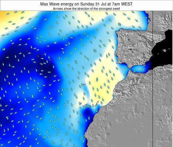 Western Sahara Max Wave energy on Friday 31 May at 7am WEST