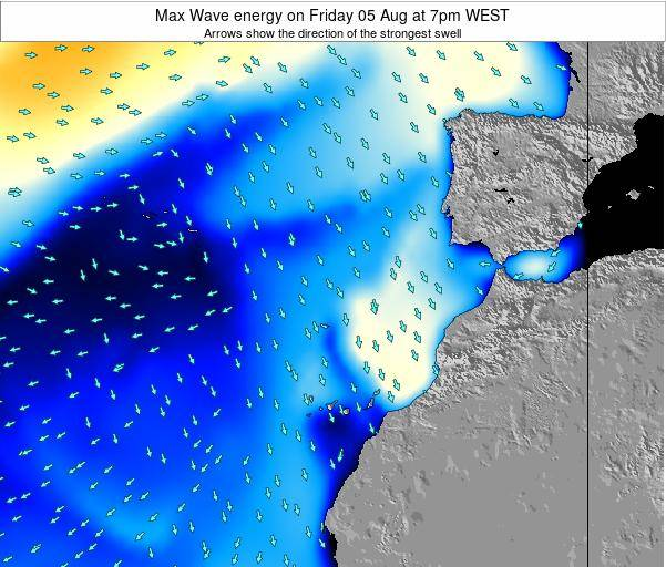 Western Sahara Max Wave energy on Tuesday 05 Aug at 1pm WEST