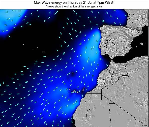 Western Sahara Max Wave energy on Wednesday 26 Jun at 1am WEST