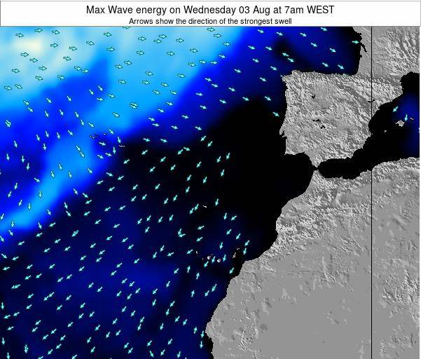 Western Sahara Max Wave energy on Saturday 23 May at 7am WEST
