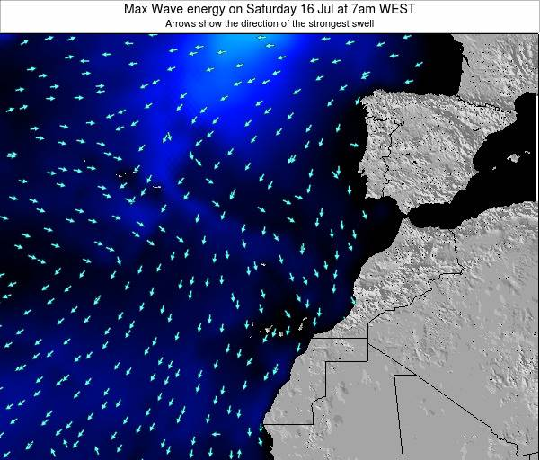 Western Sahara Max Wave energy on Saturday 07 Dec at 6pm WET