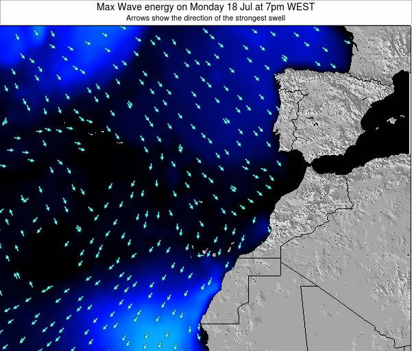 Western Sahara Max Wave energy on Wednesday 30 Jul at 1am WEST