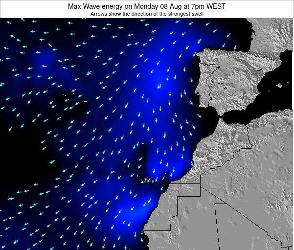 Western Sahara Max Wave energy on Sunday 31 Jul at 7pm WEST