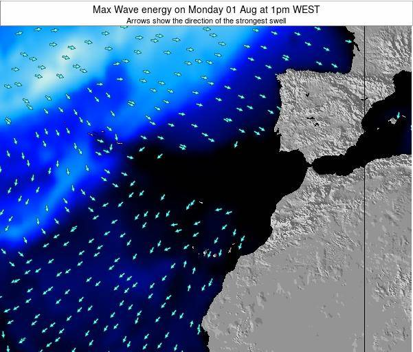 Western Sahara Max Wave energy on Friday 22 Aug at 1am WEST