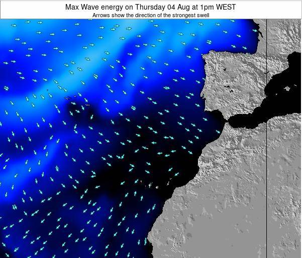Western Sahara Max Wave energy on Monday 04 Aug at 1am WEST